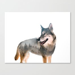 Wolf Double Exposure Canvas Print