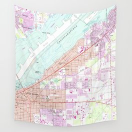 Vintage Map of Fort Myers Florida (1958) Wall Tapestry