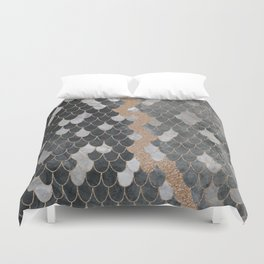 Marble Storm Cloud // Copper Streak Lightning Bolt Black and Gray Watercolor Gradient Decor Duvet Cover