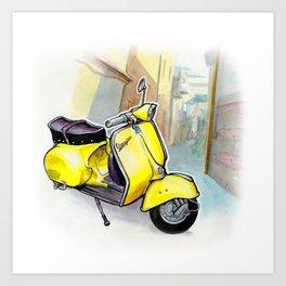 Giallo Vespa (Motocicletalia) Art Print
