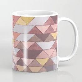 Triangle Pattern no.5 Gold, Pink and Brown Coffee Mug