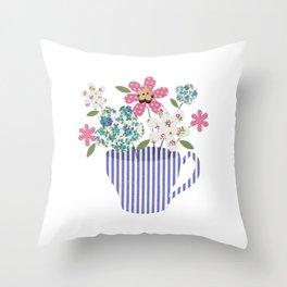 Teacup Posy Throw Pillow