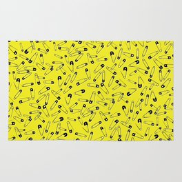 Yellow Safety pins glam pattern Rug