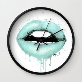 Spearmint Aqua Lips Art Makeup Decor Watercolor Kiss Love Sexy Girl Fashion Poster Lipstick Wall Clock