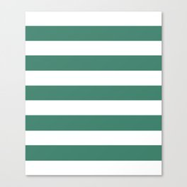 Viridian - solid color - white stripes pattern Canvas Print