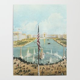 Detailed Vista of Chicago's Court of Honor and Peristyle 1893 Poster