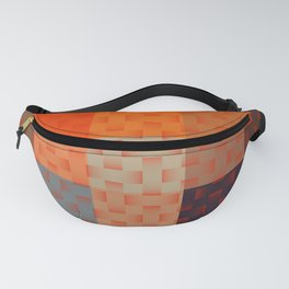 RED AND BROWN TONES - BLOCKS AND WEAVE PATTERN Fanny Pack