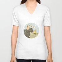 birthday V-neck T-shirts featuring Birthday Party by Judith Loske