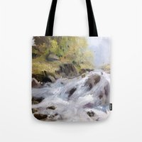 rush Tote Bags featuring Rush by Helen Harris/PineShoreStudio
