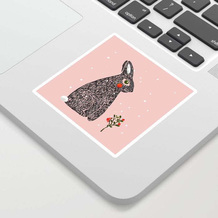 Christmas rabbit - illustration Sticker