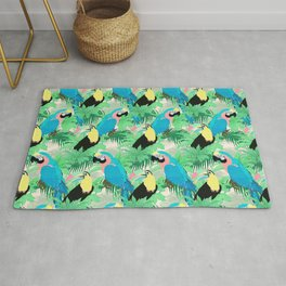 Modern Exotic Birds & Foliage Tropical Design Rug