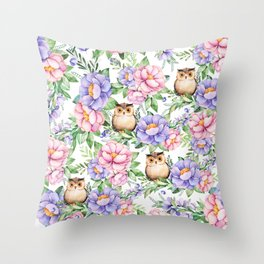 Watercolor hand painted pink lavender brown floral cute owl pattern Throw Pillow