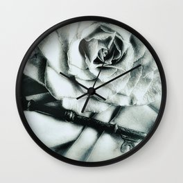 Rose and Old Key Vintage Style Modern Country Modern Cottage Art A481 Wall Clock