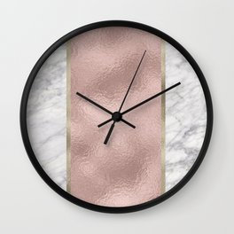 Carrara marble - rose gold stripe Wall Clock