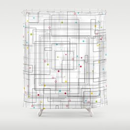 Abstract geometric pattern with vibrant colorful dots Shower Curtain