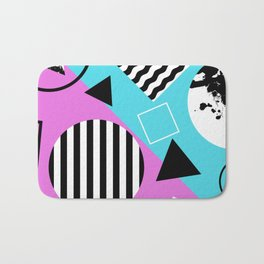 Stripes And Splats 1 - Wacky, Random, Abstract, Black And White Stripes, Blue and pink Artwork Bath Mat