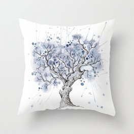 Watercolor winter tree Throw Pillow