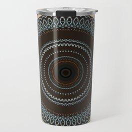 Brown Blue Biege Mandala Travel Mug