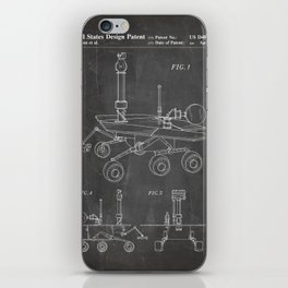 Nasa Mars Rover Patent - Mars Exploration Rover Art - Black Chalkboard iPhone Skin