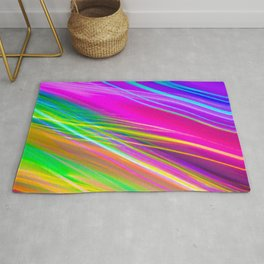 neon saturn waves Rug