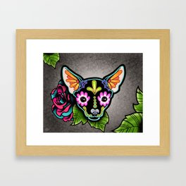 Chihuahua in Black - Day of the Dead Sugar Skull Dog Framed Art Print