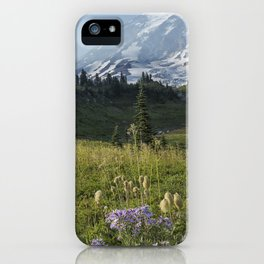 Wildflowers and Mount Rainier iPhone Case