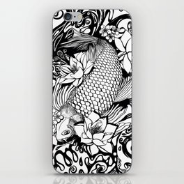 Black and White Carpa koi iPhone Skin