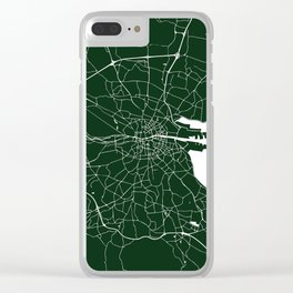 Dublin Ireland Green on White Street Map Clear iPhone Case