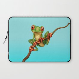 Cute Green Tree Frog on a Branch Laptop Sleeve