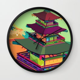 Kyoto Temple, Japan Pop Art Wall Clock