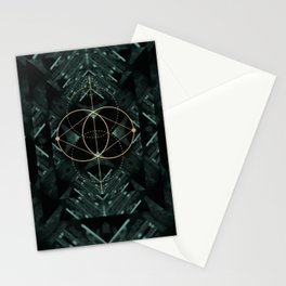 Gold Geometry machines Stationery Cards