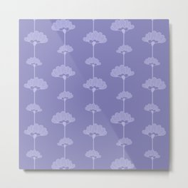 Long Stem Flowers on Blue Background Metal Print