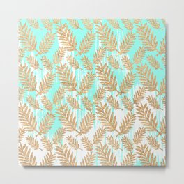 Tropical faux gold glitter plant teal watercolor brushstrokes Metal Print
