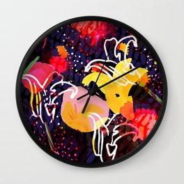 Pinkmoon Nocturnal Flower Constallation Wall Clock