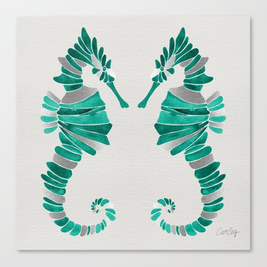 Seahorse – Silver & Turquoise Canvas Print