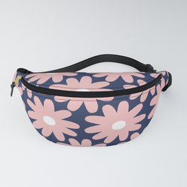 Crayon Flowers Smudgy Pastel Floral Pattern 2 in Pink and White on Navy Blue Fanny Pack