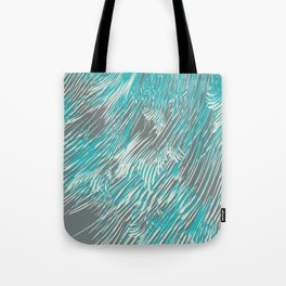 feathered lines in teal Tote Bag