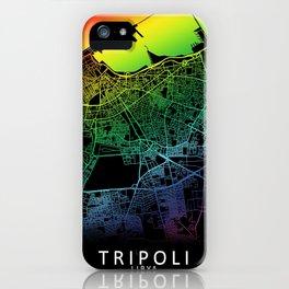 Tripoli, Libya, City, Map, Rainbow, Map, Art, Print iPhone Case