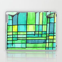 Green Frank Lloyd Wrightish Stained Glass Laptop & iPad Skin