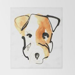 Black Ink and Watercolor Jack Russell Terrier Dog Throw Blanket