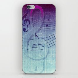 Aqua Purple Ombre Music Notes iPhone Skin