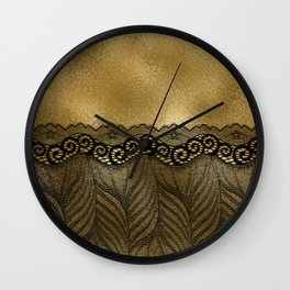 Black floral luxury lace on gold effect metal background Wall Clock