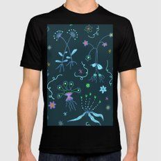 Blue Flora of Planet Hinterland Black Mens Fitted Tee MEDIUM