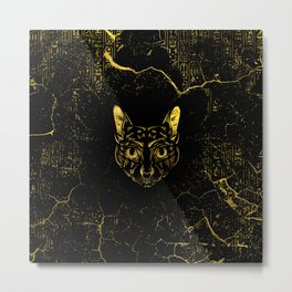 Black and Gold Sphynx Cat on Grunge Egypitan background Metal Print
