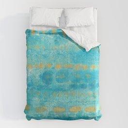 Gold in Deep Turquoise watercolor art Comforters