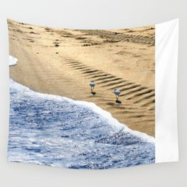 two sandpipers in blue & gold Wall Tapestry
