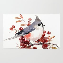 Titmouse and Berries, red fall colors, birds and flowers vintage style east coast Rug