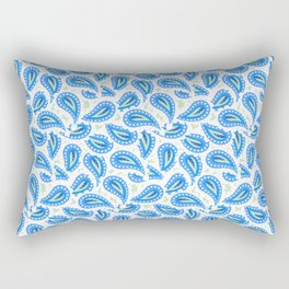 Paisley seamless pattern in blue Rectangular Pillow