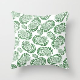 Hand drawn forest green white abstract watermelon Throw Pillow