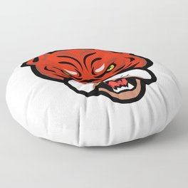 Red Tiger Bulldog Head Front Mascot Floor Pillow